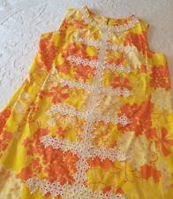 The Lilly Vintage Lilly Pulitzer Yellow Orange Floral Shift Dress Groovy SZ18