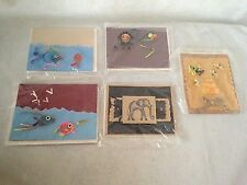 5 Vintage Quill & 3-D Animal Image Greeting Card New Old Stock