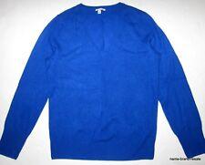 HALOGEN 100% CASHMERE Sweater Womens L LARGE Bright Blue V-Neck Long Sleeved