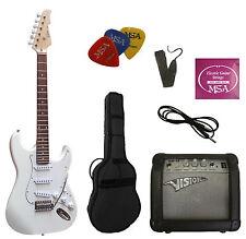 E-Guitare MSA, avec set, Amplificateur gw15, accessoires-MASSIF-bois, blanc! N