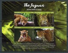 Guyana 2017 MNH Jaguar National Animal 4v M/S Big Cats Wild Animals Stamps