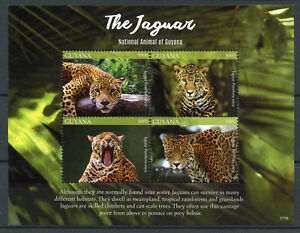 Guyana Wild Animals Stamps 2017 MNH Jaguar National Animal Big Cats 4v M/S