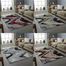 New Zig-Zag Modern Rug Large Geometric Grey Black Yellow Red Soft Pile Carpet