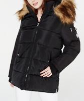 Madden Girl Juniors' Faux-Fur Trim Hooded Puffer Coat in Black, Size L   79AA