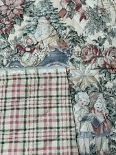 1 1/3 Yds Vintage Double Sided Quilted Cotton Christmas & Plaid w/ Silver 1980s