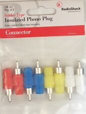 Male RCA Phono Plugs ~ Solder Type ~ Color Coded 8/PK ~ RadioShack 274-321