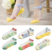 10 Pairs Women Low Cut Glass Silk Stretch Transparent Crystal Silk Socks Sea New