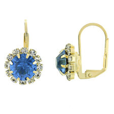4.0 ctw Brilliant Ocean Sapphire Stones Golden Leverback earrings