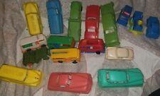 Lot 17 Vintage Plastic Auburn , More Toy Cars~Gas &Trucks+Train~14 w/wheels