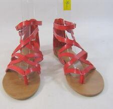 Verano Naranja Rojo Moda para Mujer Tira en Tobillo Sexy Sandalias Talla 7