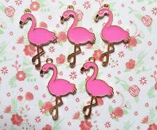 5pcs x Hot Pink Flamingo Enamel Gold Alloy CHARM Pendants DIY Jewellery