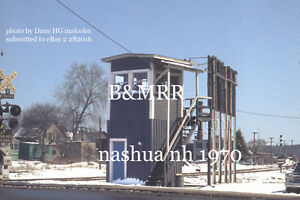 "Boston & Maine RR  Switch tower Crossing  tower Nashua NH 1970  8x10"" photo"