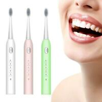 Sonic Ultrasonic Electric Toothbrush Rechargeable Cleaning Mode + Brush Head