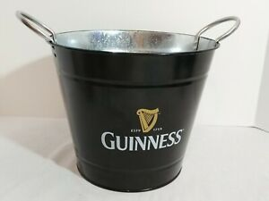 Guinness Black Metal Ice Bucket Beer Advertising Tin Storage Bin Bowl Harp Logo