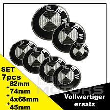 7Set für BMW SCHWARZ-CARBON Felgen Lenkrad Autohaube Kofferaum82+74+68+45 Emblem