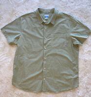 Columbia Mens Shirt Size XXL Regular Fit Green Stripes Button Short Sleeve