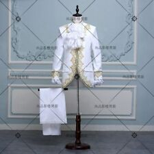 King Prince Renaissance Medieval Men Cosplay Costume Coat+Pants Full Set
