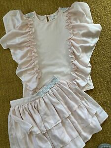 Carrement Beau Stunning Top & Tiered Skirt Set Pale Pink Silver Trim Small 10 Y