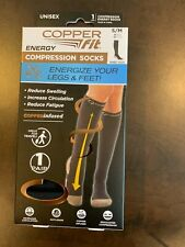 Copper Fit Energy Compression Socks-1 Pair Easy On/Off S/M Men 6-9 Women 7-10
