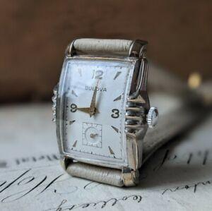 Mens Art Deco Curved Bulova L2 10BM 21 Jewels Dress Fancy Dress Watch - Working