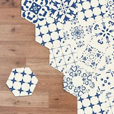 Walplus Blue Floral Motif Hexagon Floor Tiles Stickers, Home Decorations DIY Art