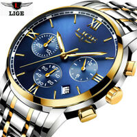 LIGE Men Analog Quartz Watch Date Fashion Steel Band Waterproof Sport Wristwatch