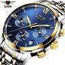 LIGE Men Analog Quartz Watch Date Fashion Steel Band Waterproof Sport Wristwatch