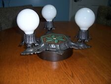 Cast Iron and Ceramic Mosaic Ceiling or wall Light 1920's early 1930's Restored
