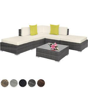 Alu Poly Rattan Sitzgruppe Lounge Garnitur Couch Eck Sofa Tisch Set Gartenmöbel