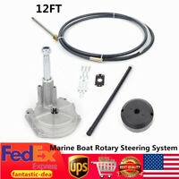 NEW 12FT Boat Rotary Outboard Steering System w/ Rotary Helm 12' Steering Cable