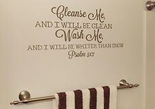 Bathroom Vinyl Wall Decal Inspirational Bible Verse Cleanse Me Wash Me