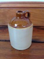 "Vtg Antique Style Ceramic Glazed Primitive Jug Crock Jar Small Mini 4.25"" Tall"