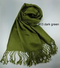 New Lady Scarf Women Shawl Winter Wrap Solid Pure Color Long Dark Green