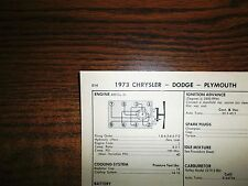 1973 Dodge Plymouth Chrysler EIGHT Series Models 400 CI V8 2BBL Tune Up Chart