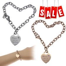 Stainless Steel Women's Ladies Love Heart Dangle Chain Bangle Bracelet Gift Fast