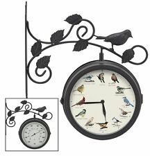 Dual Sided Outdoor Singing Bird Clock and Thermometer