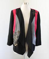Chico's Black Red Open Front Kimono Jacket Color Block Sequin Floral Chicos Sz 1