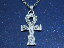 Tibetan Silver Ankh Cross Pendant Charm on Silver Necklace Chain