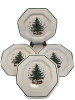 "Nikko Classic Christmastime Octagon 10 3/4"" Dinner Plates Octagon Shape Set of 4"