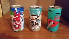 Coca Cola cans and A&W Root Beer can set of three Pop Art Cans from Canada