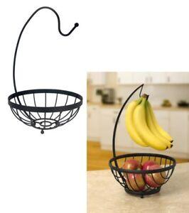 Flat Iron Fruit Bowl Holder With Banana Hanger Hook Tree Fruit Bowl Basket Stand