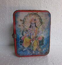 Vintage Old Collectible Hindu God Lord Vishnu  Print Tin Box With Latch