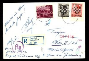 CROATIA (NDH) WWII - POSTCARD SENT BY REGISTERED MAIL FROM ZAGREB 10. 9. 1941. T