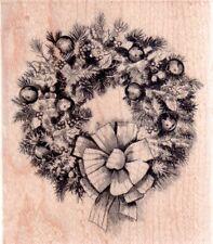 NEW INKADINKADO RUBBER STAMP Christmas Sketch Wreath LG mounted free usa ship