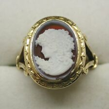 Beautiful 9ct Gold And Carved Cameo Ring