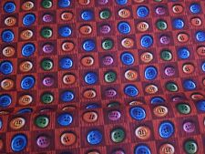 """2 yards Buttons on Red Checked 100% Cotton Fabric- """"Happy Snowman Buttons"""""""