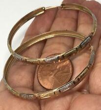 45mm GOLD Hoop 10k earring YELLOW WHITE Rose Tri 4.8g 4mm