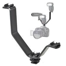 3-IN-1 Metal Hot shoe Holder V-shaped F Camera Mic/Flash Speedlite/LED Light