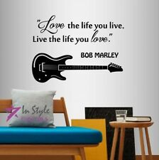 Vinyl Decal Bob Marley Quote Love the Life You Live Guitar Wall Art Sticker 948