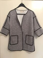 Grey Soft Nylon Wide Shoulder One Button 3/4 Sleeves Hip Length Coat One Size
